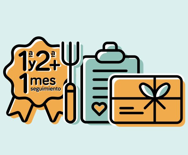 Tarjeta Regalo Premium 1ª y 2ª Consulta Dietética +   1 mes de seguimiento